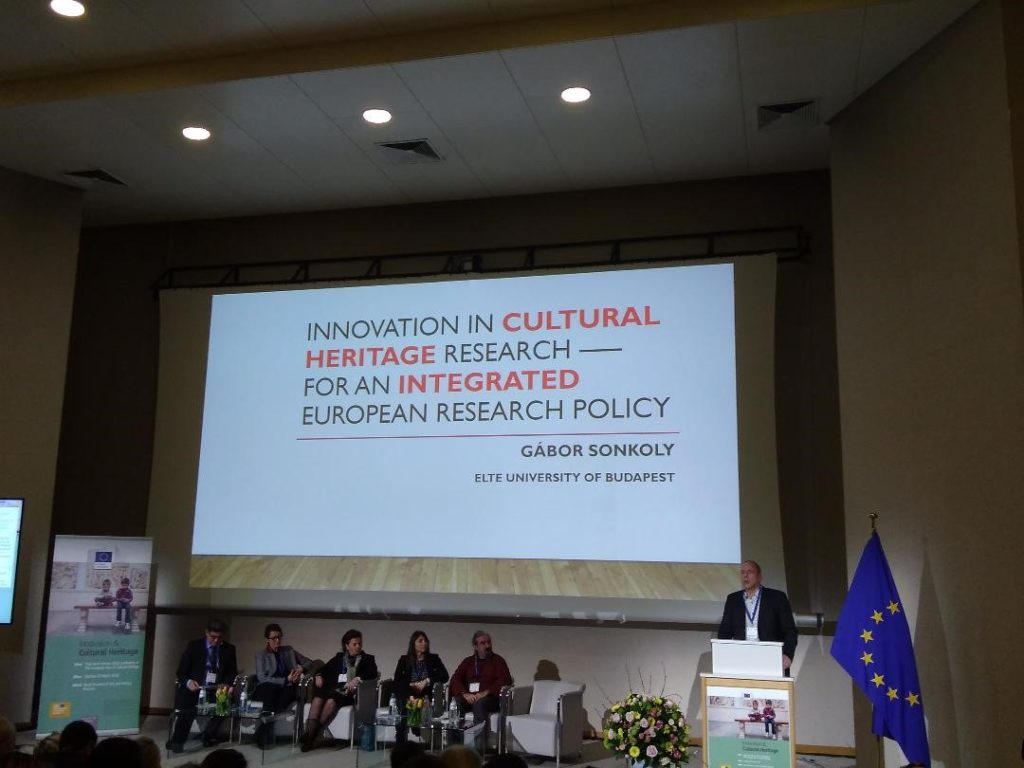 Prof. Gábor Sonkoly of the Panel for European Heritage Label, giving the keynote lecture at the Innovation & Cultural Heritage High-level Conference in Brussels, 20 March 2018.